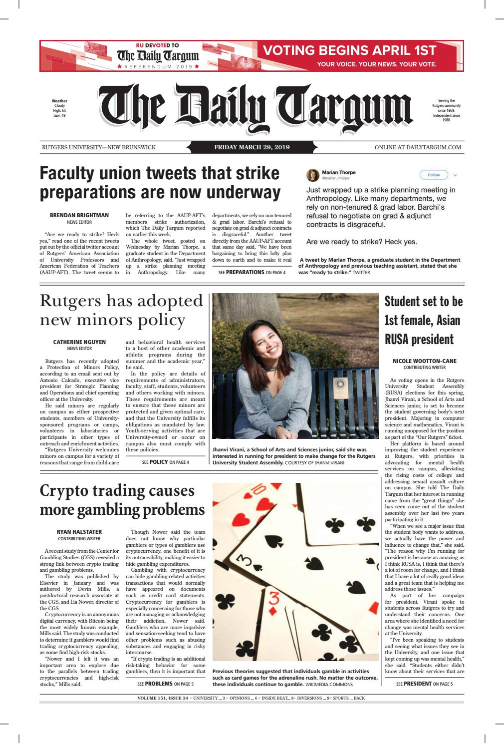 The Daily Targum 3 29 19 by The Daily Targum - issuu