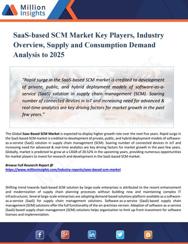 SaaS-based SCM Market Size, Share and Consumption Analysis