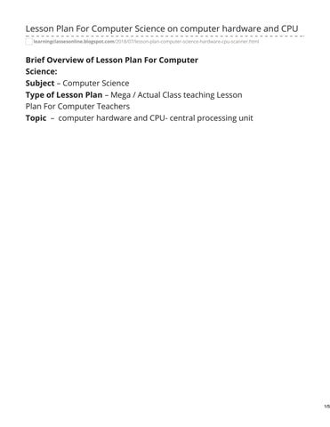 Computer Lesson Plan by learningclassesonline - issuu