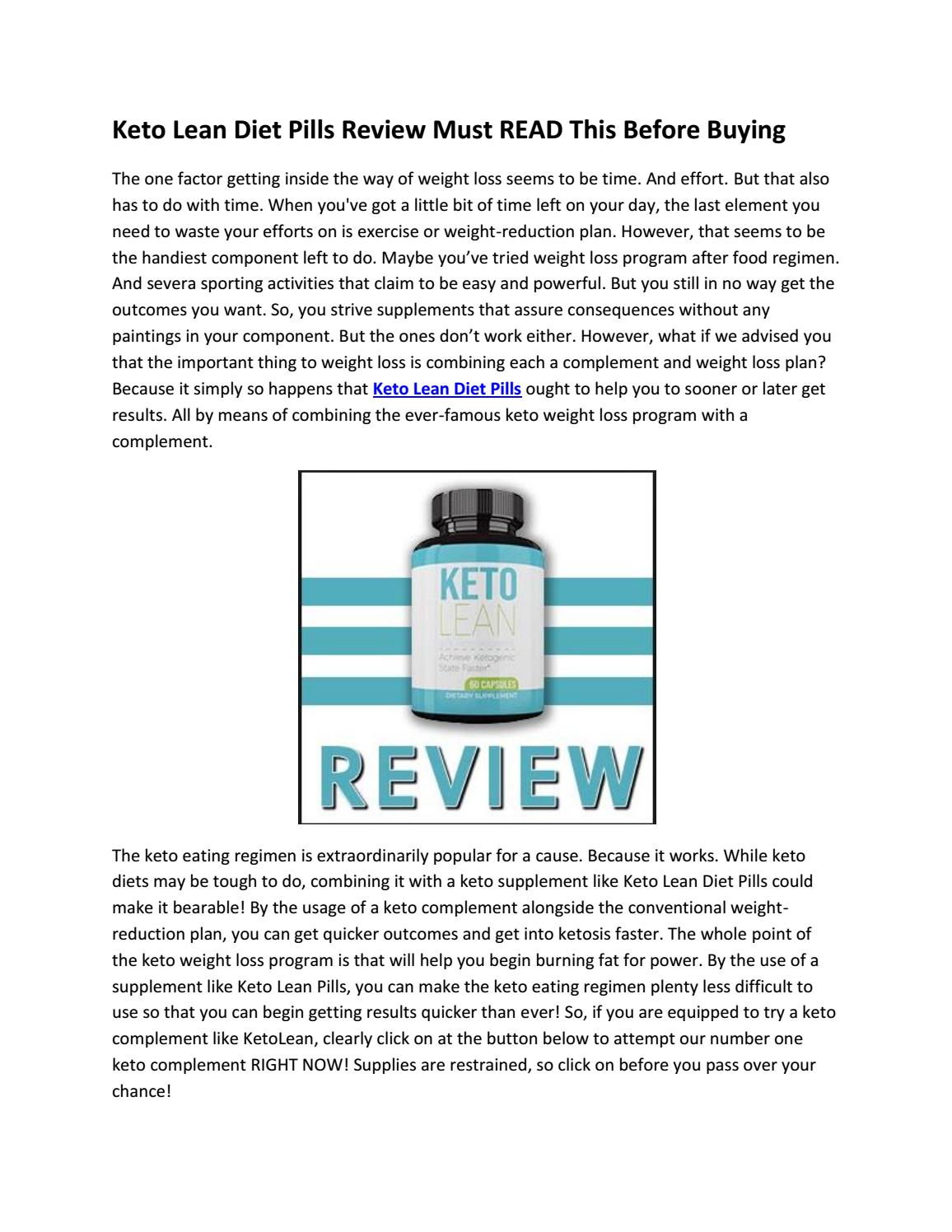 Keto Lean Diet Pills Review Must READ This Before Buying by