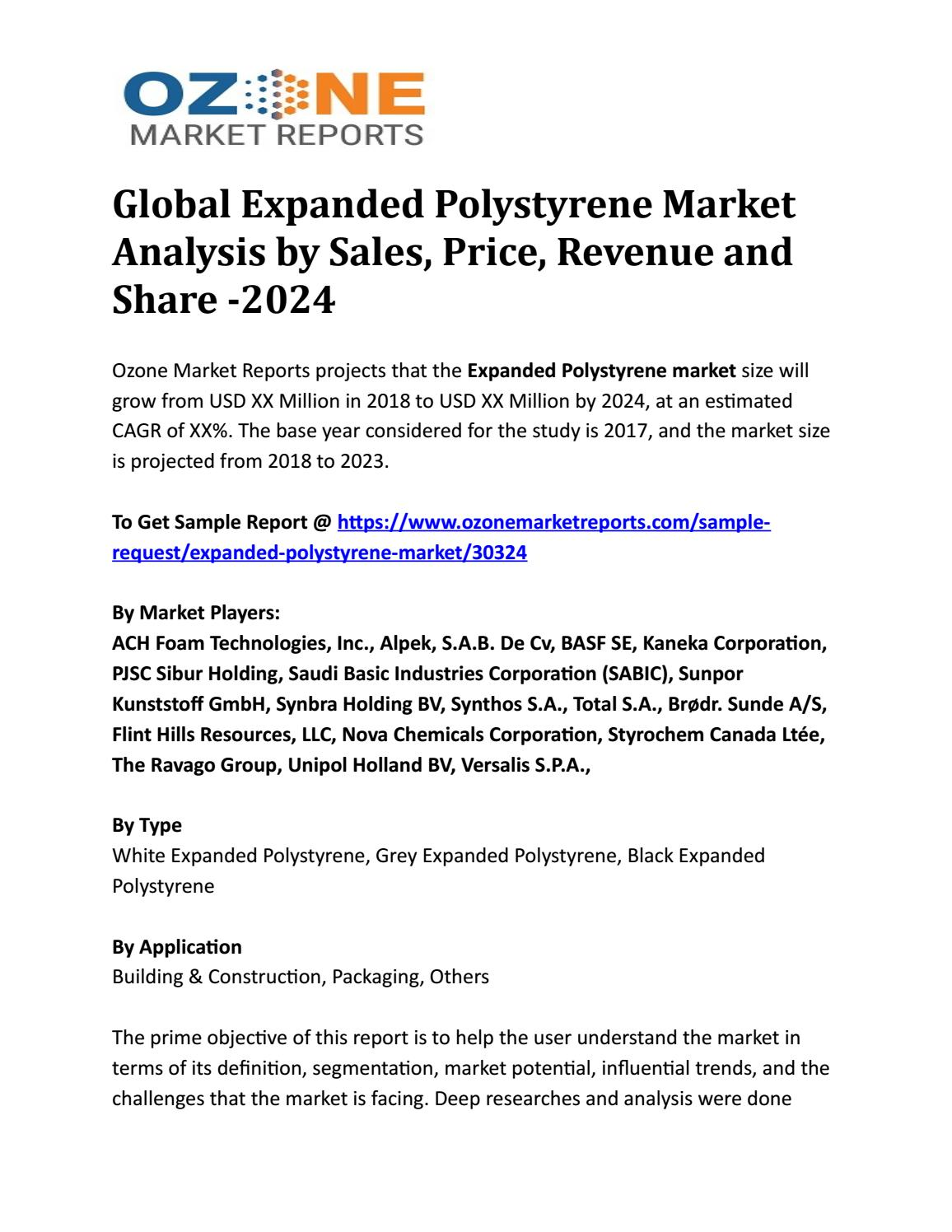 Global Expanded Polystyrene Market Analysis by Sales, Price