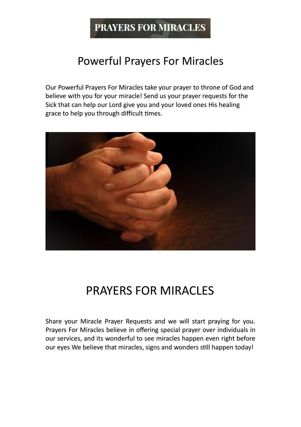 Belive in Powerful Prayers for Miracles by Prayers for Miracles - issuu