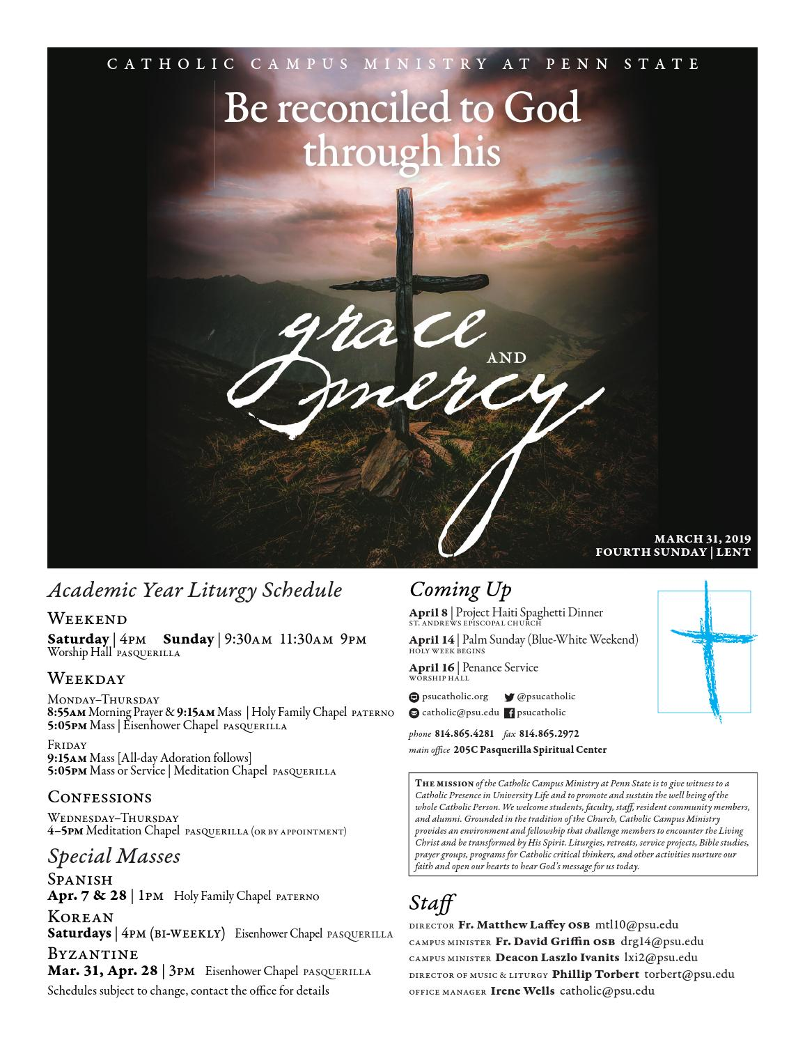 Bulletin for 31 March 2019 (Fourth Sunday / Lent) by Penn