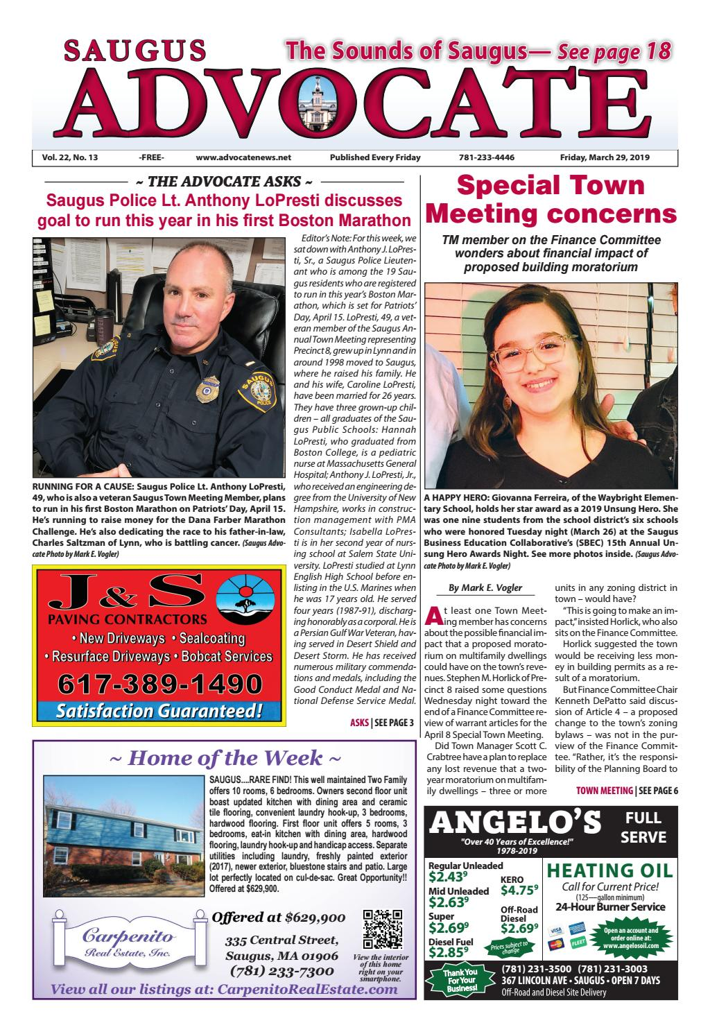 THE SAUGUS ADVOCATE - Friday, March 29, 2019 by Mike Kurov