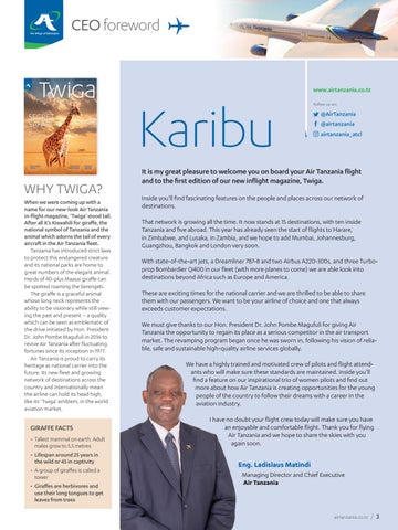 Page 5 of Karibu from the CEO of Air Tanzania