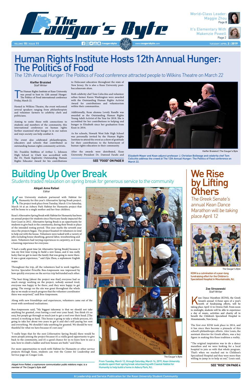 Kean University - The Cougar's Byte - April 2, 2019 by The