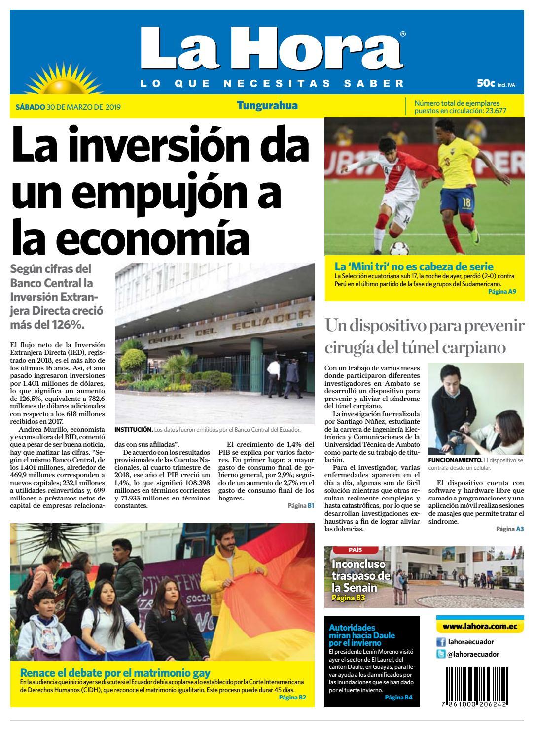 ae7f33a2e50c9d TUNGURAHUA 30 DE MARZO DE 2019 by Diario La Hora Ecuador - issuu