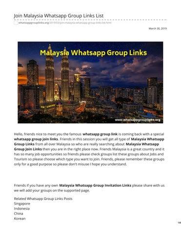 Join Malaysia Whatsapp Group Links List by whatsapp group