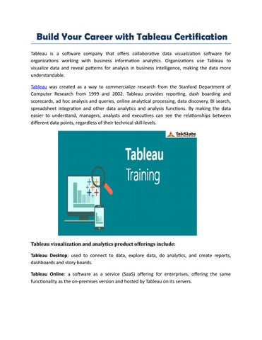 Learn Tableau Training By Real-Time Experts by nianavarma - issuu