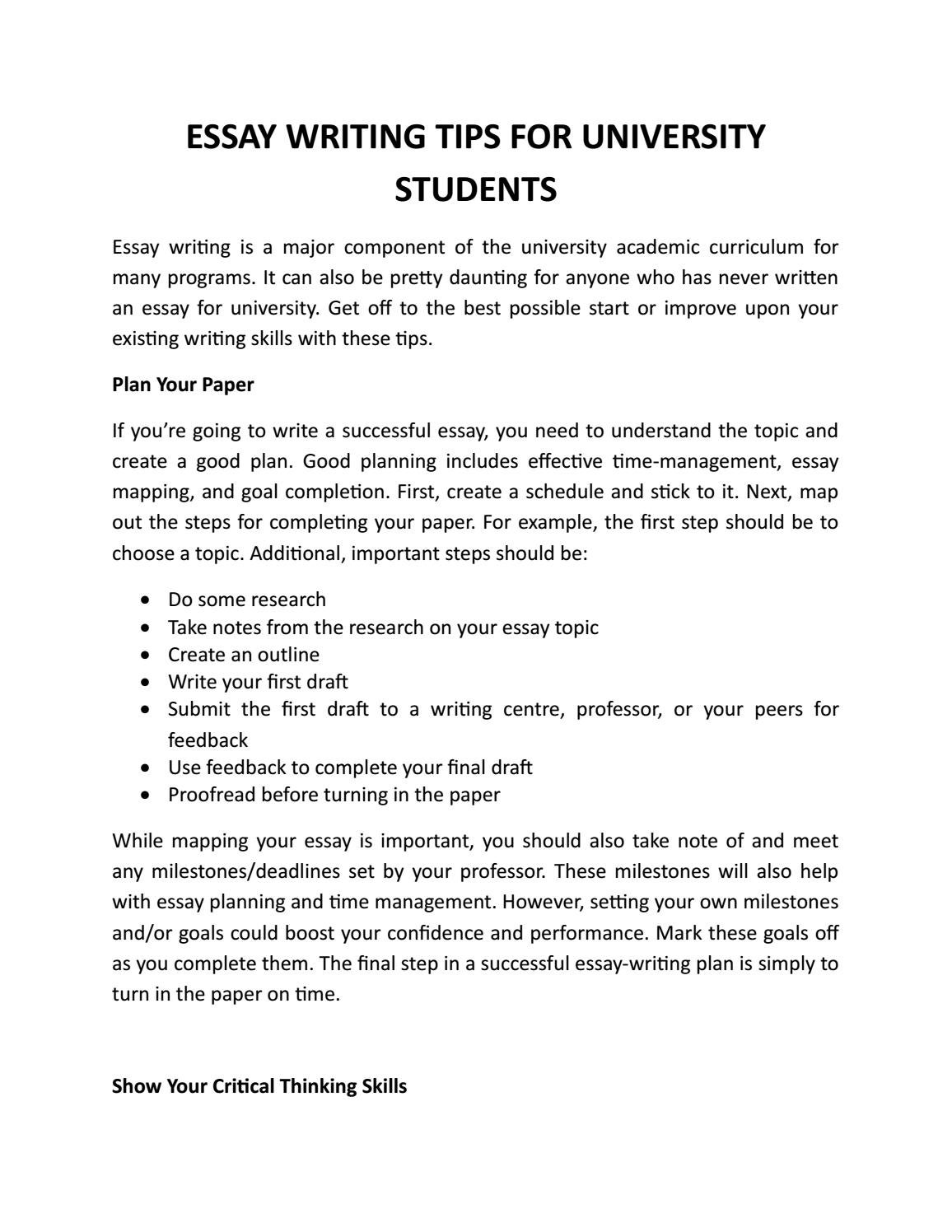 Write Essays For College Students
