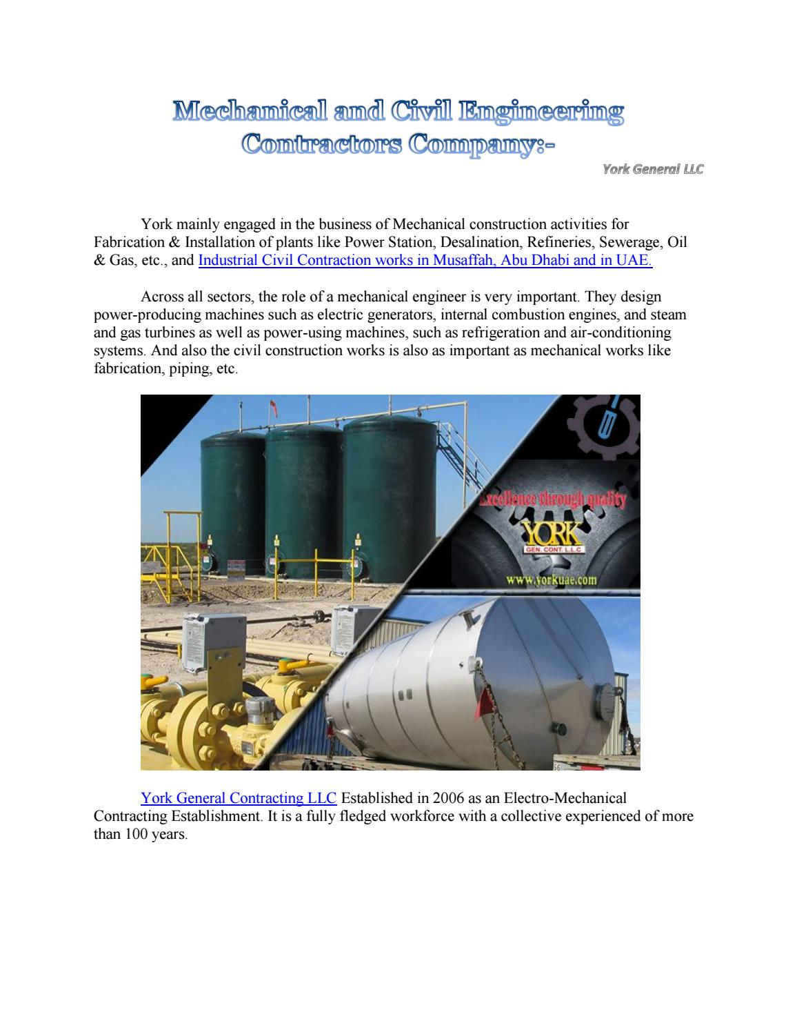 Mechanical and Civil Engineering Contractors Company by York