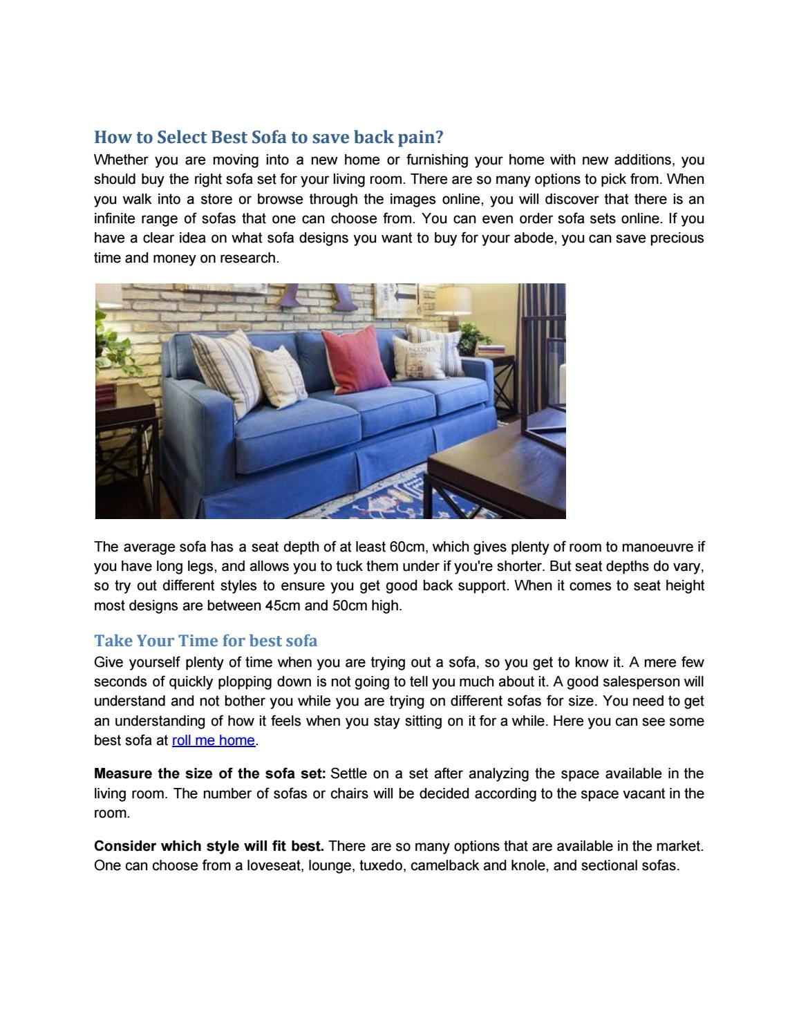 Select Best Sofa To Save Back Pain