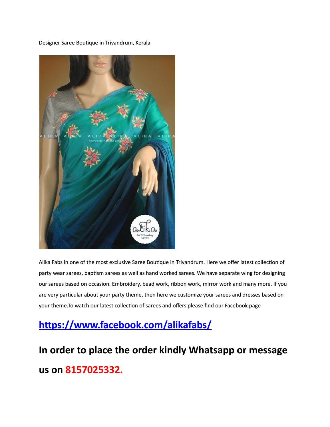 Designer Saree Boutique In Trivandrum Kerala By Alika Info Issuu