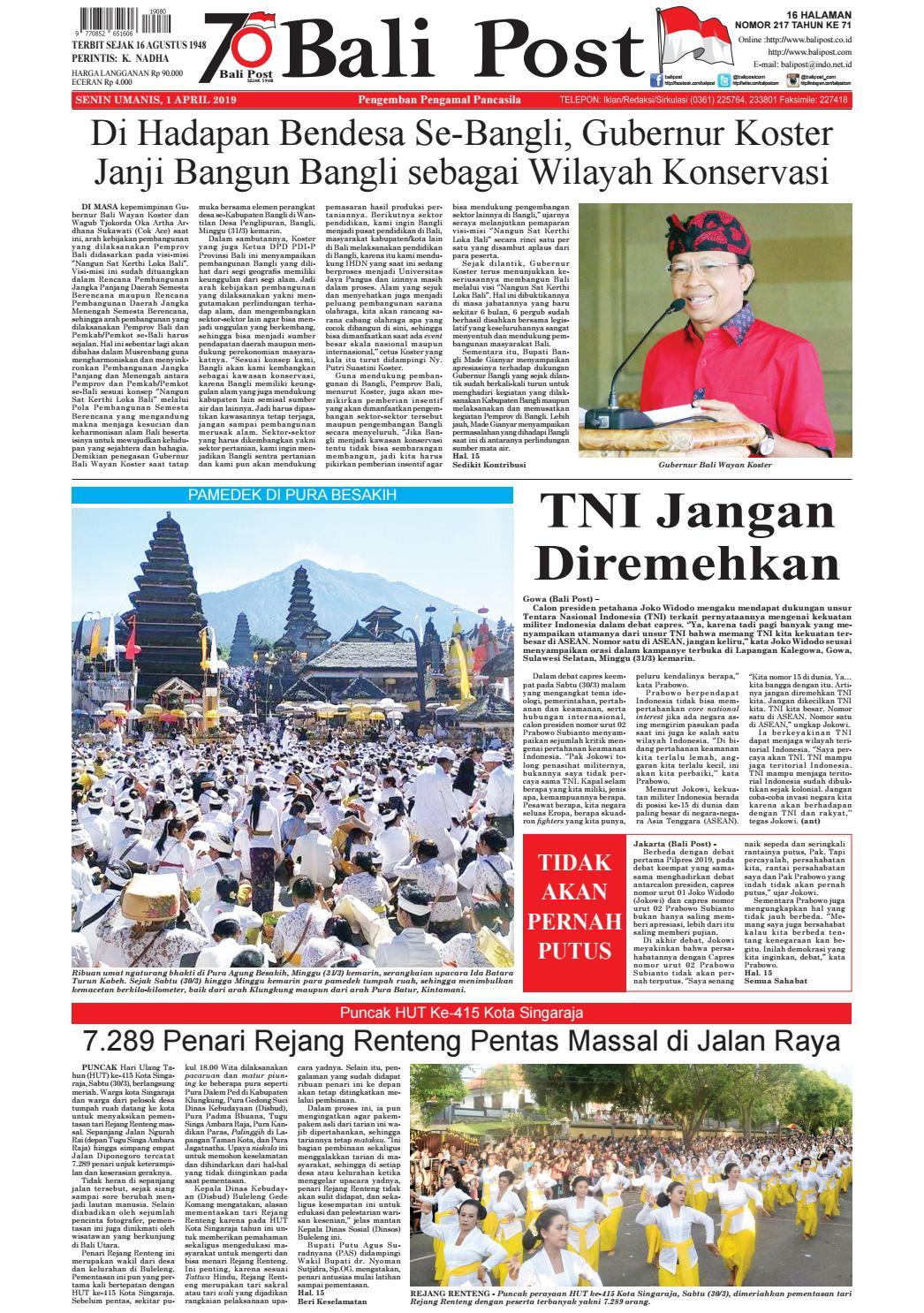 Edisi Senin 1 April 2019 Balipost Com By E Paper Kmb Issuu
