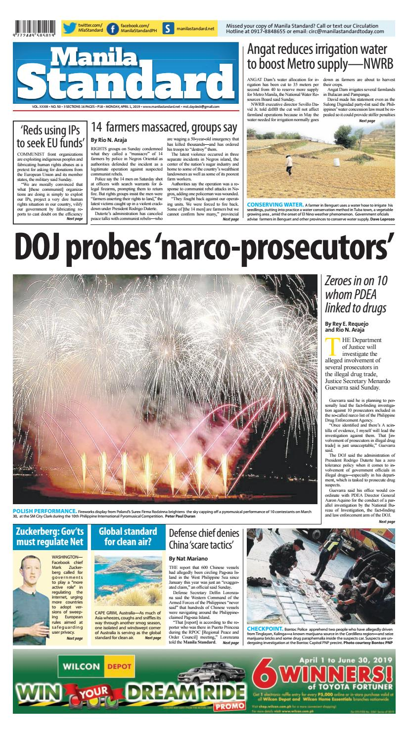 Manila Standard pdf April 1, 2019 issue by Manila Standard