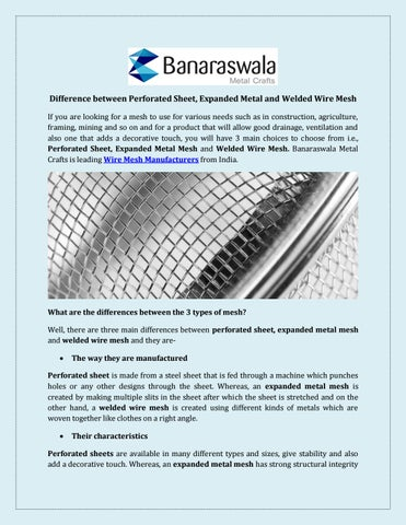 Wire Mesh Manufacturers, Suppliers India by Banaraswala