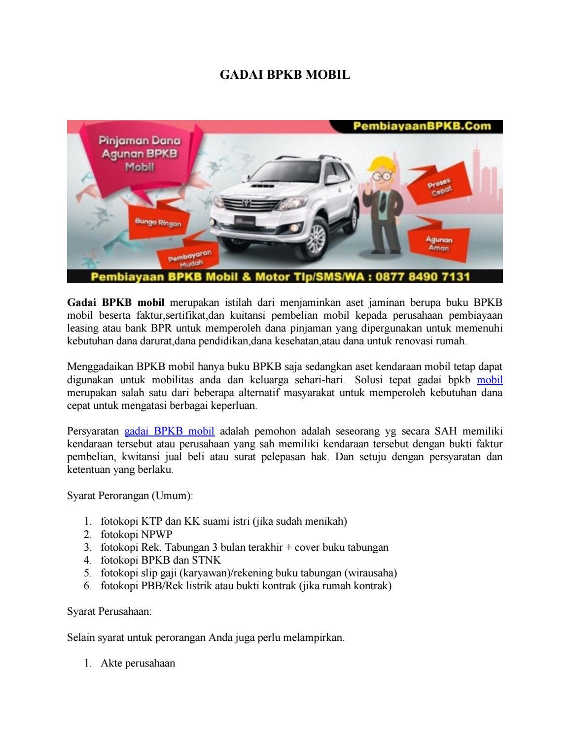 Gadai Bpkb Mobil By Pembiayaan Bpkb Issuu