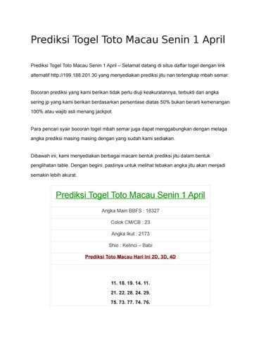 Prediksi Togel Toto Macau Senin 1 April By Prediksi Jitu Mbah Semar Issuu