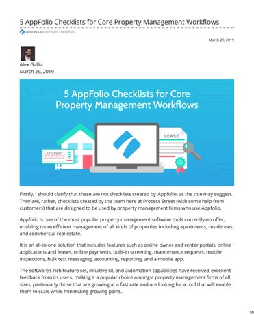 5 AppFolio Checklists for Core Property Management Workflows by Liz