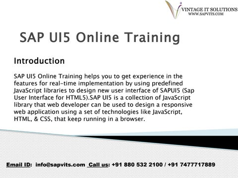 SAP UI5 Online Training Courses in India, Hyderabad, bangalore by