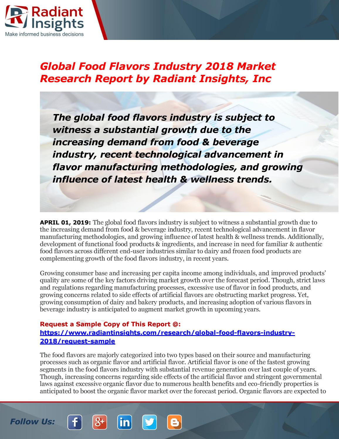 Food Flavors Market Global Insights, Future Trend & Forecast to 2025