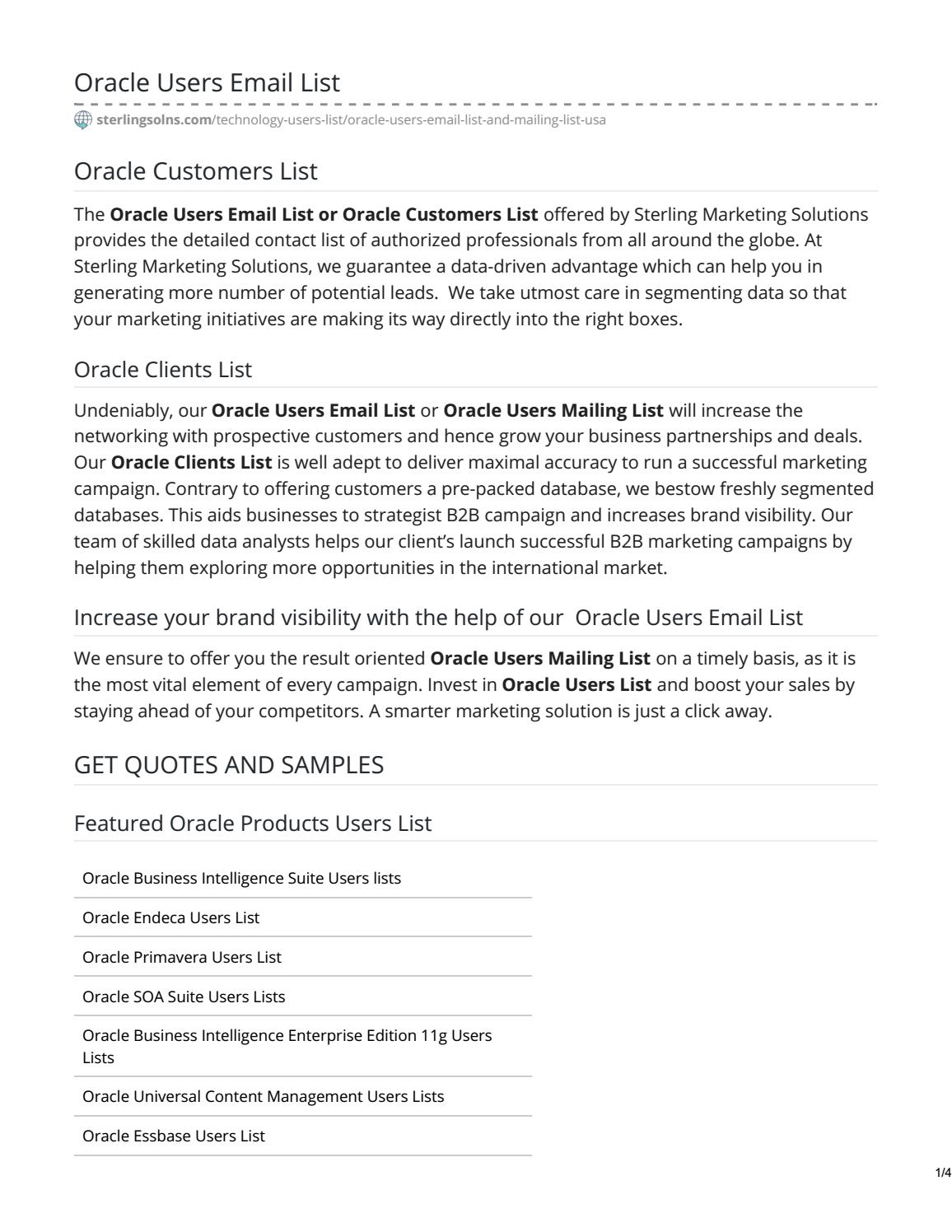 ORACLE USERS EMAIL LIST | Oracle Customers List by smdavid60 - issuu