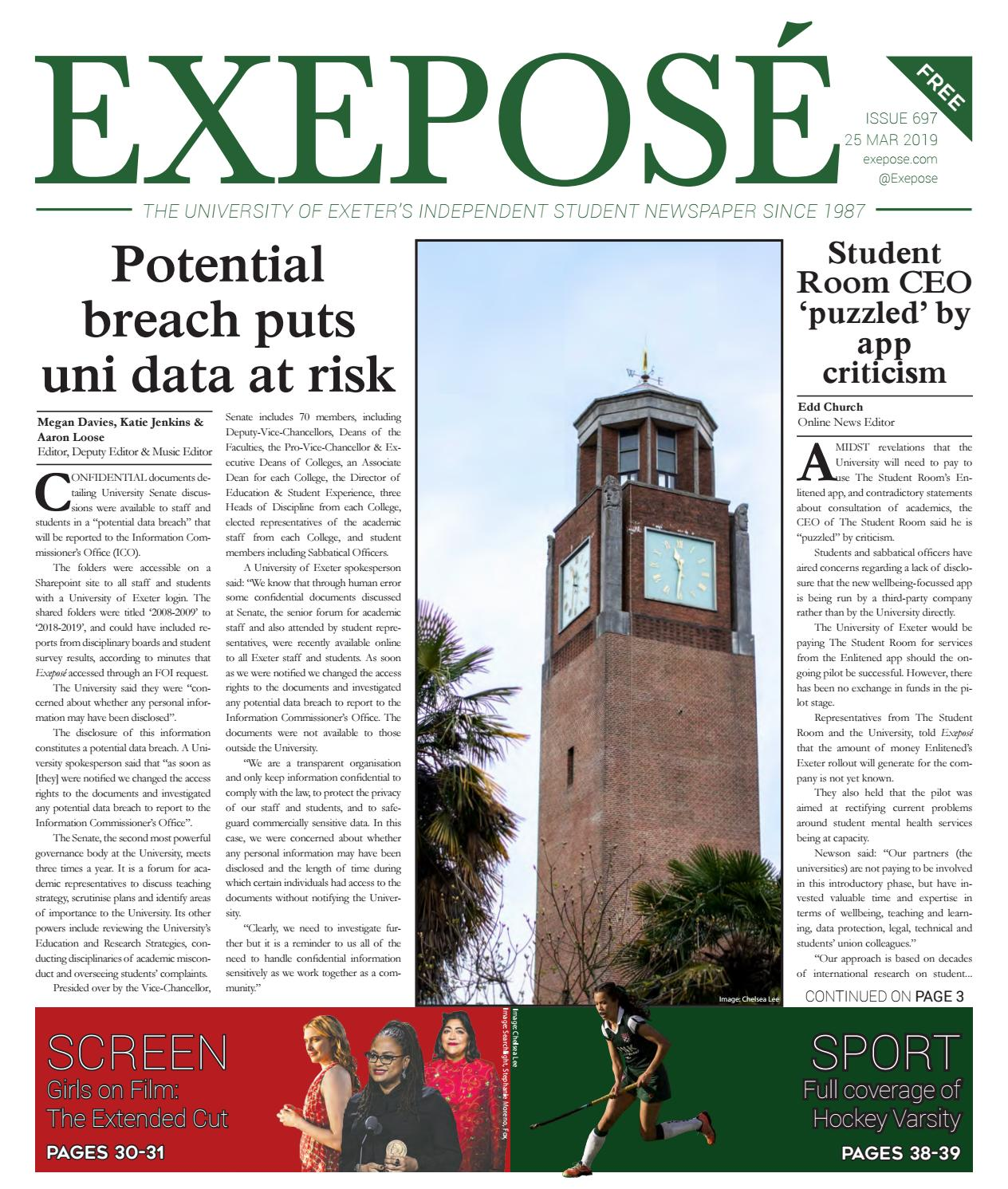 Issue 697 // 25 March 2019 by Exeposé - issuu