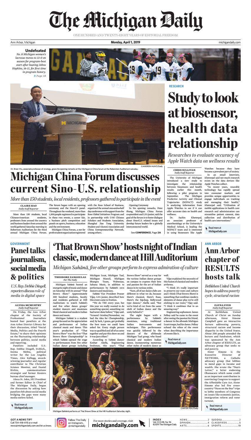 2019-04-01 by The Michigan Daily - issuu