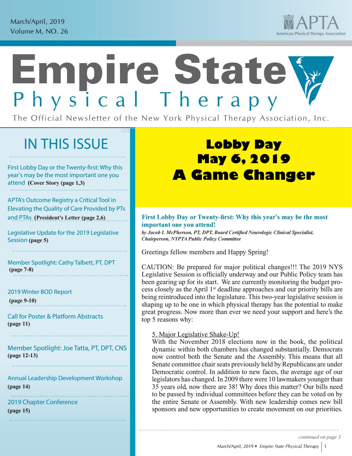 NYPTA 2019 March/April Newsletter by New York Physical
