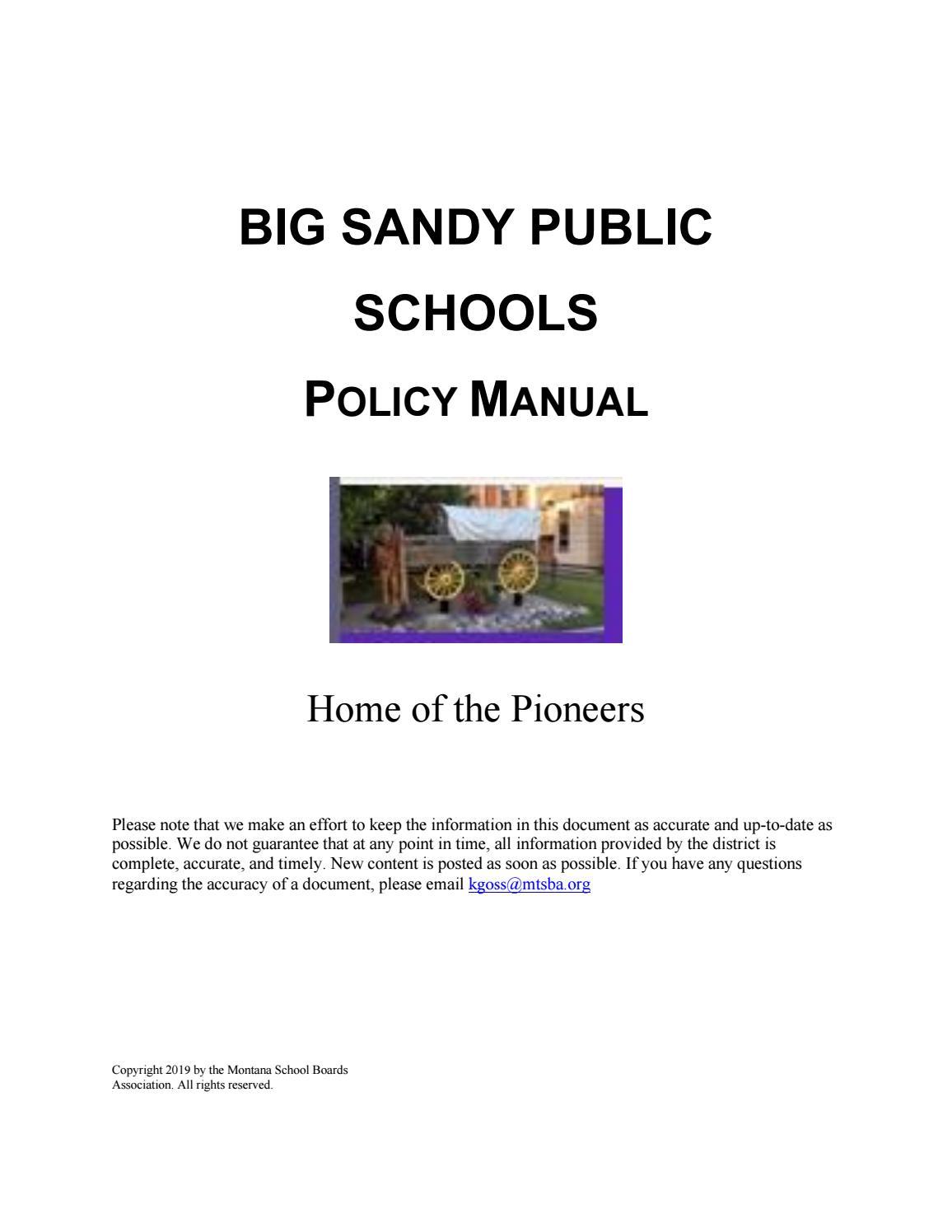 Big Sandy Public Schools Policy Manual by Montana School Boards