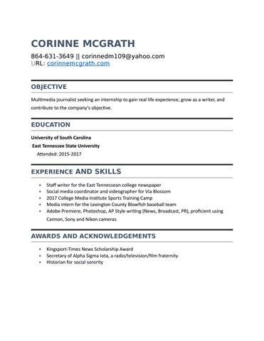 Corinne Mcgrath Resume By Corinne Mcgrath Issuu