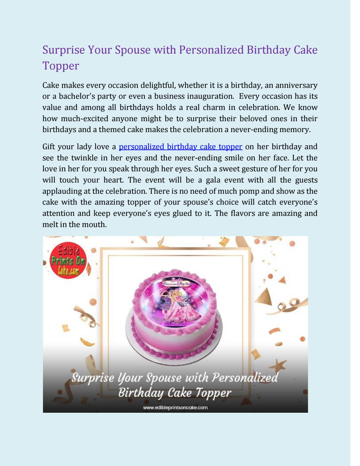 Peachy Surprise Your Spouse With Personalized Birthday Cake Topper By Personalised Birthday Cards Veneteletsinfo