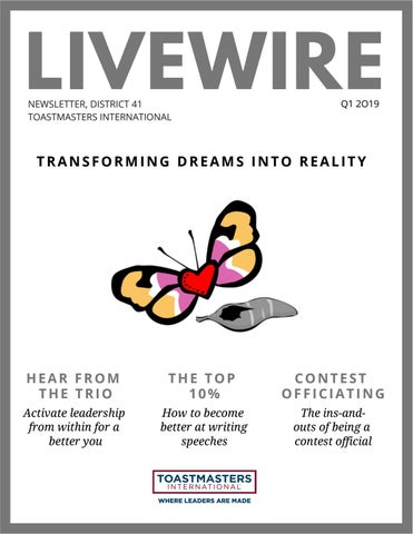 Page 1 of LIVEWIRE Q1 2019 - District #41, Toastmasters International