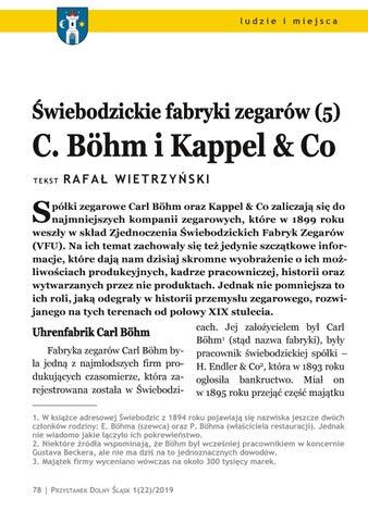 Page 78 of Ludzie i miejsca: Świebodzickie fabryki zegarów (5): C. Böhm i Kappel & Co