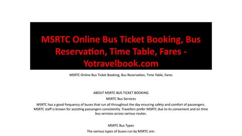 MSRTC Online Bus Ticket Booking, Bus Reservation, Time Table, Fares