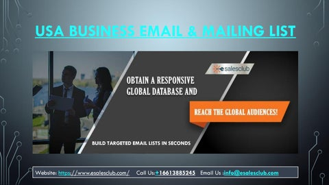 USA Business Email List | USA Executives Mailing Database | B2B