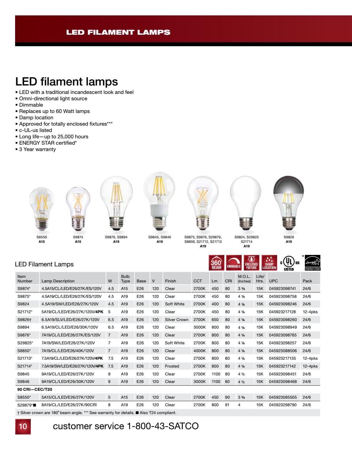 6 Pack Satco S9875 4.5A19//CL//LED//E26//27K//ES//120V