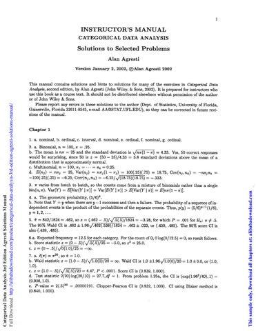 Categorical Data Analysis 3rd Edition Agresti Solutions Manual By Rama Holloway Issuu