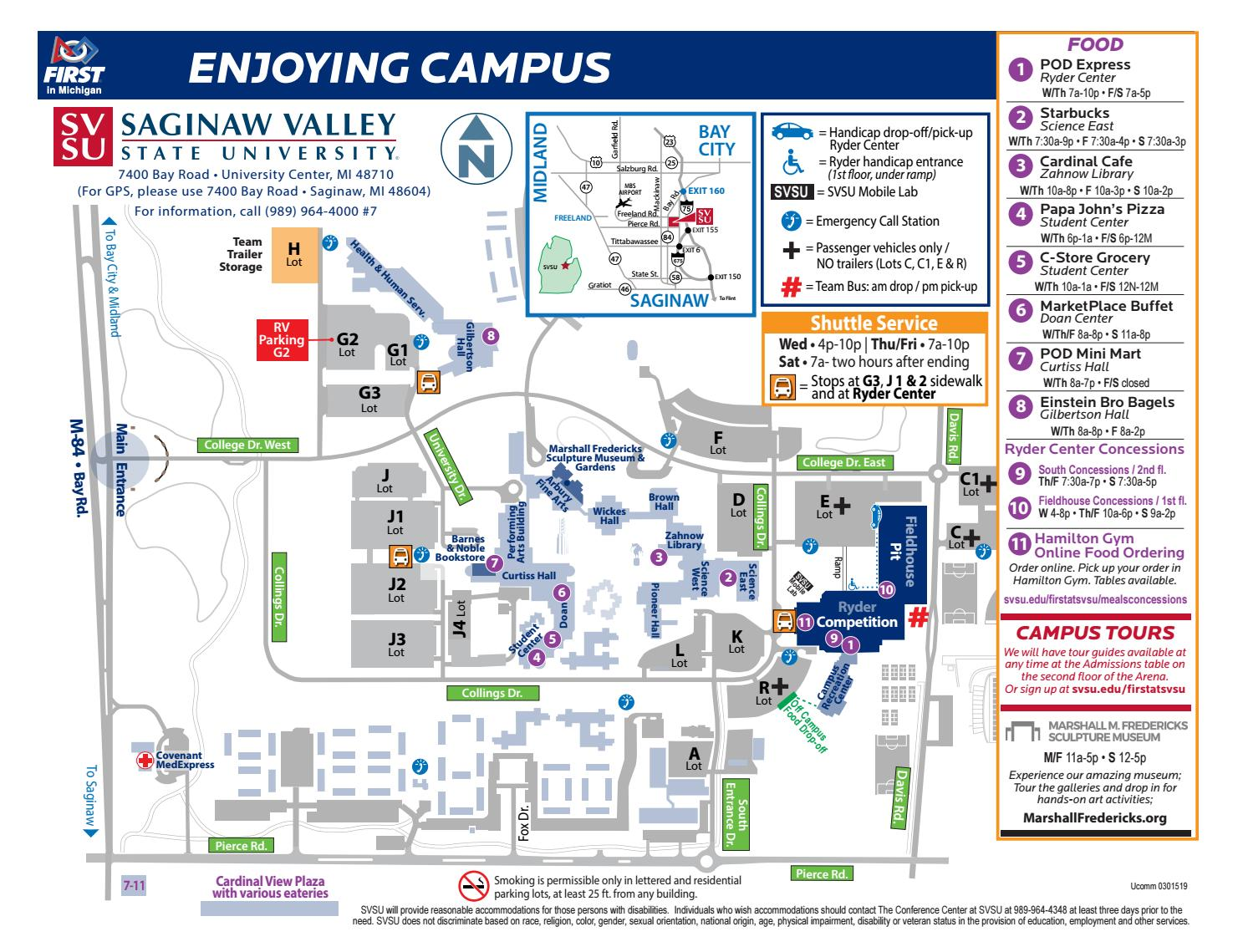 Enjoy Campus Map - SVSU by Saginaw Valley State University ... on southern polytechnic state university campus map, lake superior state university campus map, montcalm community college campus map, shawnee community college campus map, stan state campus map, penn state shenango campus map, delaware community college campus map, state fair community college campus map, illinois valley community college campus map, grand valley state university campus map, st. cloud state university campus map, southern connecticut state university campus map, elizabeth city state university campus map, southeast missouri state university campus map, sul ross state university campus map, black hills state university campus map, southwest minnesota state university campus map, northwest missouri state university campus map, stephen f. austin state university campus map,
