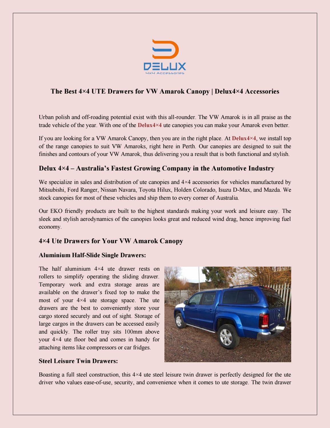 The Best 4×4 UTE Drawers for VW Amarok Canopy | Delux4×4
