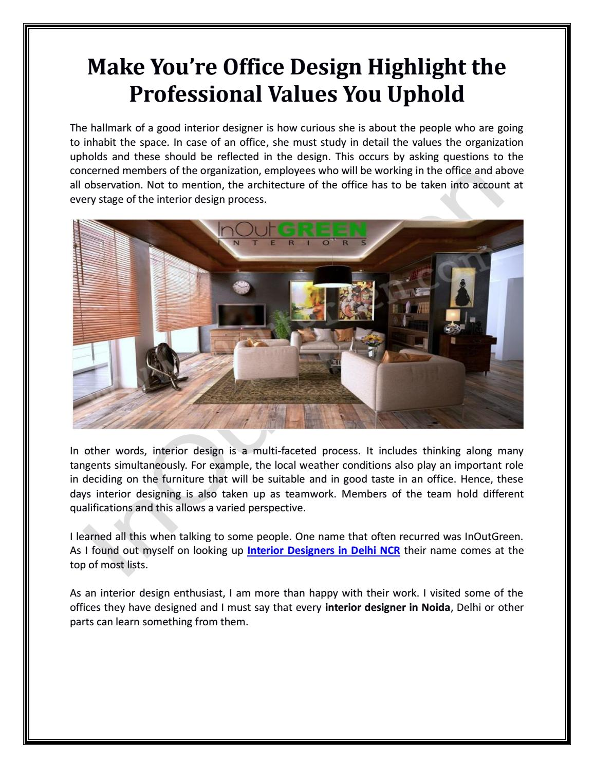 Make You Re Office Design Highlight The Professional Values You Uphold By Kanika Kaur Issuu