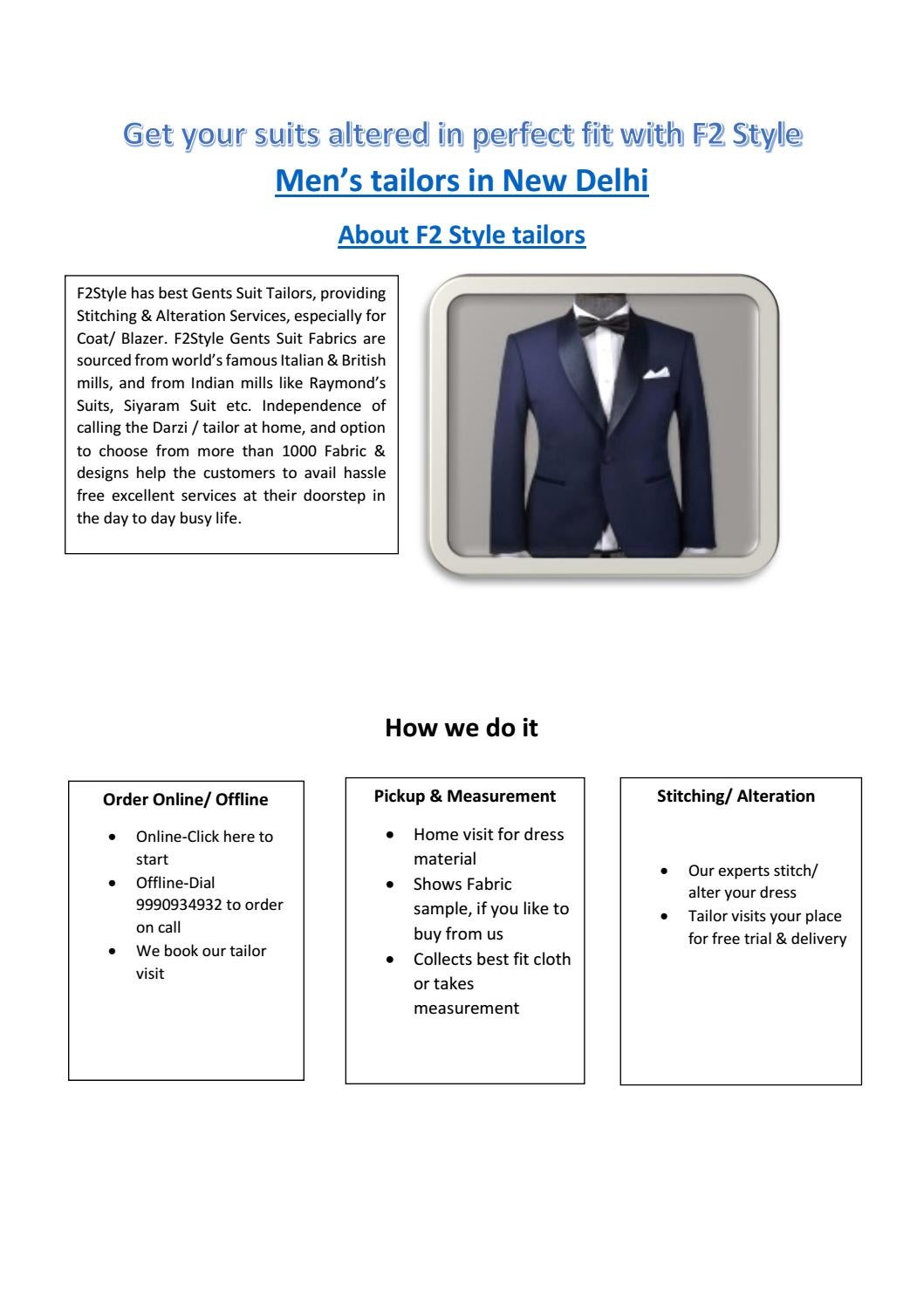 Get Your Suits Altered In Perfect Fit With F2 Style Gents Tailors Near Me By Rajesh Sharma Issuu