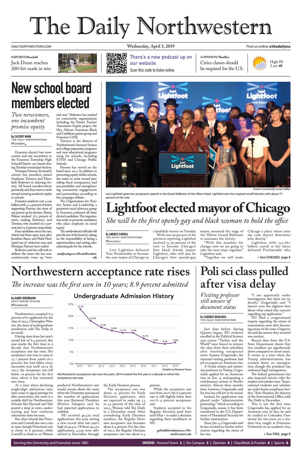 The Daily Northwestern – April 3, 2019 by The Daily