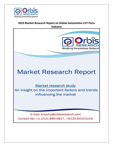 2019 Market Research Report on Global Automotive CVT Parts Industry