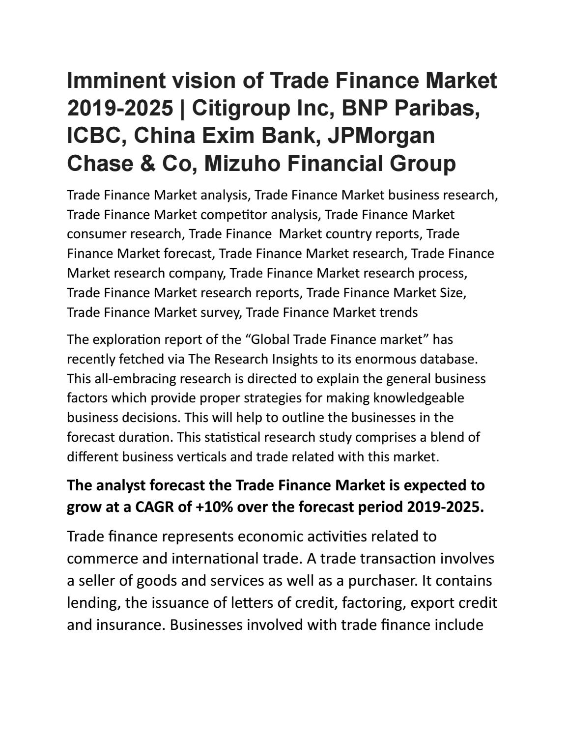 Trade Finance Market 2019-2025 by researchinsights1 - issuu