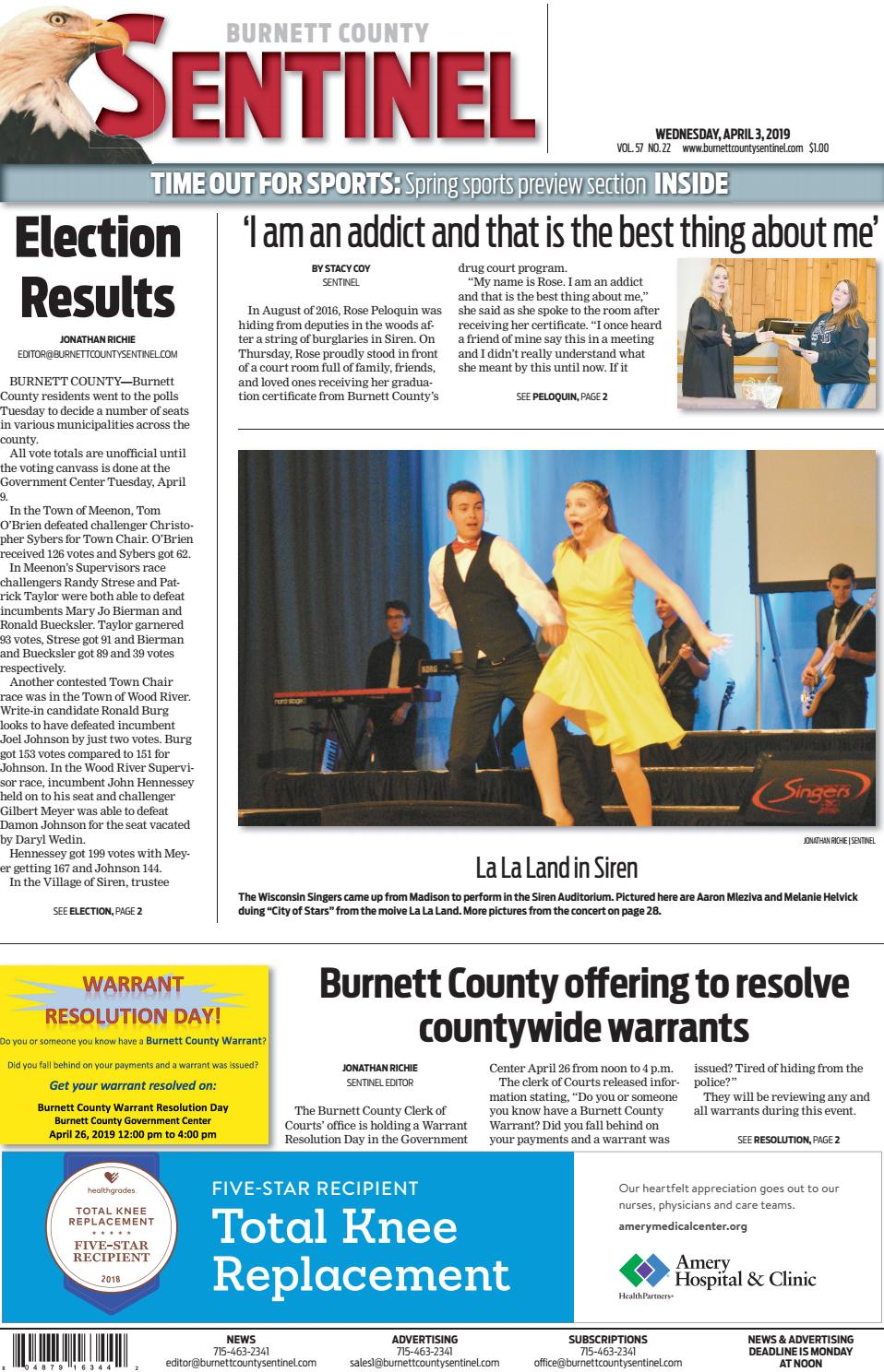 The Burnett County Sentinel 04-03-2019 by Burnett County