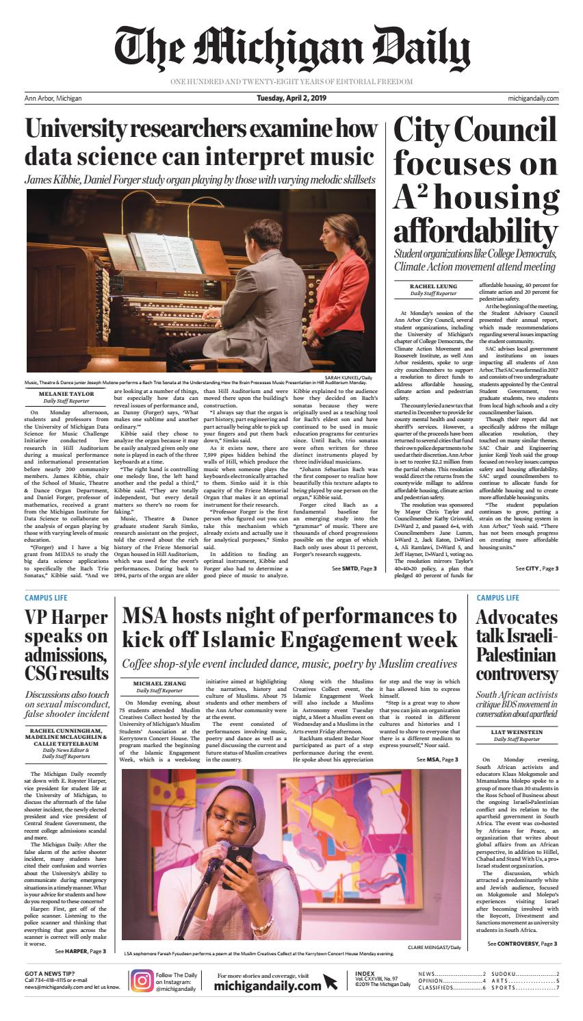 2019-04-02 by The Michigan Daily - issuu