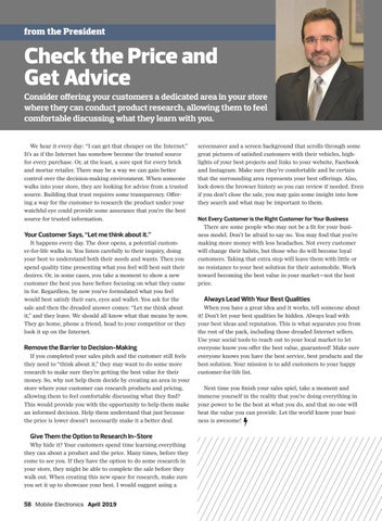 Page 58 of From the President: Check the Price and Get Advice