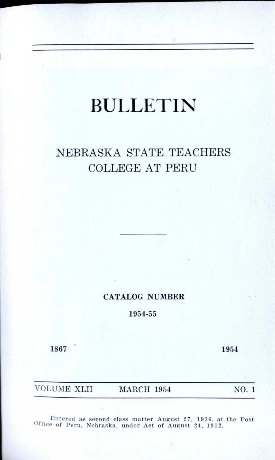 1954-1955 Catalog of Peru State Teachers College (Nebraska