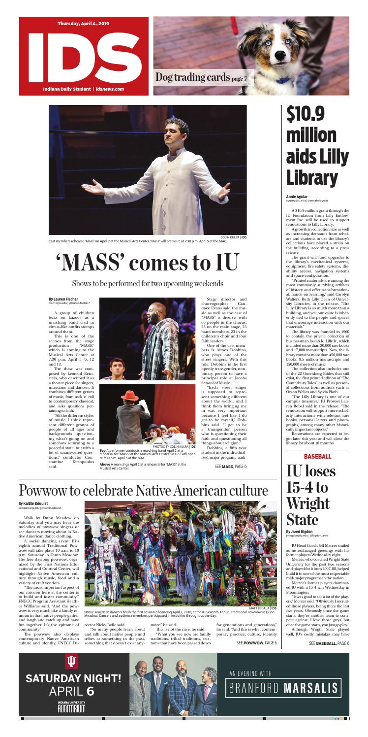 Thursday, April 4, 2019 by Indiana Daily Student - idsnews